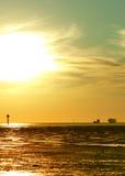 Sunset over the North Sea coast Stock Image