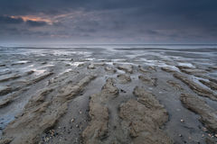 Sunset over North sea coast at low tide Royalty Free Stock Photos