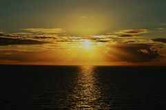 Sunset over North Sea. Most beautiful sunset over North Sea during boat trip near between Norway and Germany Stock Photo