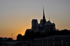 Sunset over Notre Dame Royalty Free Stock Photography