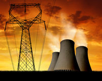 Nuclear power plant. Sunset over the nuclear power plant Royalty Free Stock Images