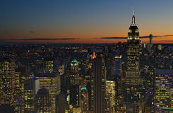 Sunset over a NYC. Royalty Free Stock Images