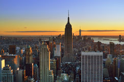 Sunset over a NYC. Royalty Free Stock Photography