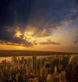 Sunset over a NYC. Royalty Free Stock Image