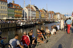 SUNSET OVER NYHAVN CANAL Stock Photos