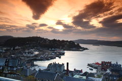Sunset over Oban. Sunset over the small Scottish town of Oban Stock Images