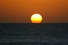 Sunset over ocean. Clean sunset over cabo verde ocean Royalty Free Stock Images