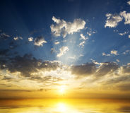Sunset over ocean. Amazing sunset over ocean. Nature composition Royalty Free Stock Image