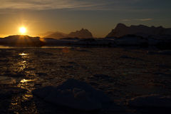 Sunset over the ocean Antarctic winter Royalty Free Stock Images