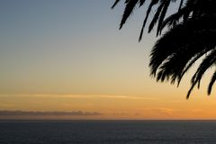 Sunset over the ocean. A beautiful sunset on a spring day on Madeira Island,Portugal stock photos
