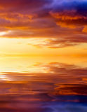 Sunset over ocean. Beautiful sunset sky. Sky Background. Stock Image