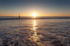 Sunset over the ocean at Cottesloe beach, Perth, Western Australia stock images