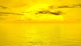 Sunset over ocean - 3D render. Big yellow sun going down over ocean by sunset light royalty free illustration