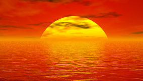 Sunset over ocean - 3D render. Big yellow sun going down over ocean by red sunset light royalty free illustration