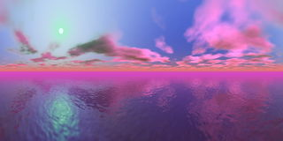Sunset over ocean - 3D render Royalty Free Stock Images