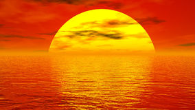 Sunset over ocean - 3D render. Zoom out of a beautiful half sun upon the ocean by red sunset light with little clouds royalty free illustration