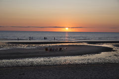 Sunset over ocean at Eastham, MA Cape Cod Stock Images