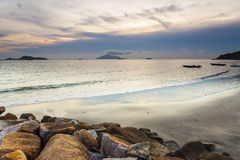 Sunset over the ocean in Hong Kong coast Royalty Free Stock Images