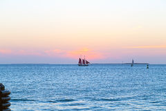 Sunset over the ocean in Key West, Florida. Royalty Free Stock Image