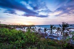 Sunset over ocean, nature composition. Beautiful tropical view. Bali island, Indonesia. Balangan beach. Stock Photo