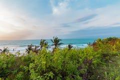 Sunset over ocean, nature composition. Beautiful tropical view. Bali island, Indonesia. Balangan beach. Stock Images