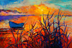 Sunset over ocean. Original oil painting of boat and sea on canvas.Sunset over ocean.Modern Impressionism stock illustration