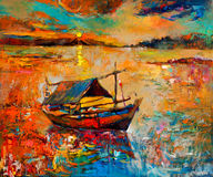Sunset over ocean. Original oil painting of boat Royalty Free Stock Images