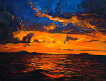 Sunset over ocean. Original oil painting of  Ocean and cliffs on canvas.Rich golden  Sunset over ocean.Modern Impressionism Stock Photo