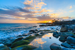Sunset over ocean in Playa Blanca town Royalty Free Stock Photography