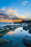 Sunset over ocean in Playa Blanca town Stock Images