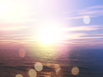 Sunset over the ocean with retro effect Stock Photo