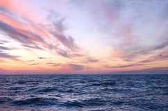 Sunset over ocean in summer Royalty Free Stock Photos