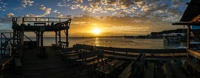 Sunset over the ocean in Utila, Honduras. Royalty Free Stock Image