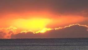 Sunset over ocean stock video