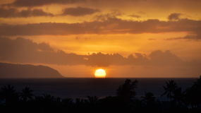 Sunset over the Ocean. View of Sunset over the Pacific Ocean on the Island of Hawaii Royalty Free Stock Images