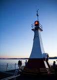 Sunset over Ogden Point beacon, Victoria, BC Stock Images