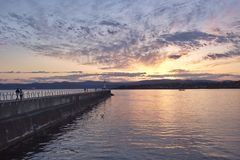 Sunset over the Ogden point, Victoria, BC, Canada Stock Photos