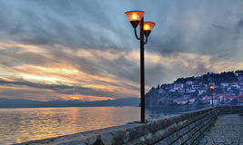 Sunset over Ohrid lake, Macedonia Royalty Free Stock Photo