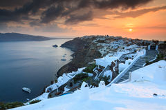 Sunset Over Oia Santorini Royalty Free Stock Images