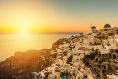 Sunset over Oia village in Santorini Stock Photo