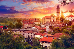 Sunset over old provincial town with Bell Stock Images