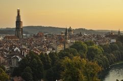 Sunset over old town of Bern. With view of Berner Muenster Stock Images
