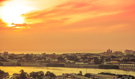 Sunset over old town Cartagena Royalty Free Stock Image