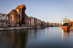 Sunset over the old town in Gdansk, Poland Royalty Free Stock Image