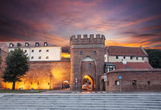 Sunset over old town of Torun, Poland Royalty Free Stock Photography