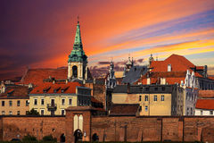 Sunset over old town of Torun, Poland Stock Images