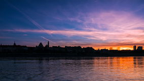 Sunset over the old town in Warsaw stock video footage
