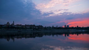 Sunset over the old town in Warsaw stock footage