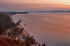Sunset over Olkon island Royalty Free Stock Photo