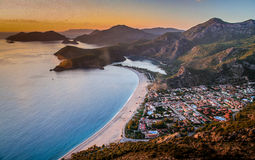 Sunset over Oludeniz Royalty Free Stock Photos
